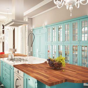 Kuchnia Nordica Jade w pięknym niebieskim kolorze ożywi wnętrze. Warto ją otworzyć na salon i wyeksponować. Fot. WFM Kuchnie