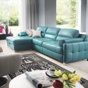 Narożnik Fiorino dostępny jest w wielu ciekawych kolorach tapicerki. Pikowane boki i siedzisko będą zaś ozdobą całego wnętrza. Fot. Gala Collezione