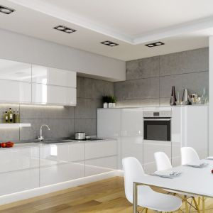 Kuchnia Patrycja wyróżnia się minimalistyczną stylistyką. Minimalizm jest wskazany przy małych powierzchniach, ponieważ dzięki niemu wnętrza wyglądają na uporządkowane. Fot. Atlas Kuchnie