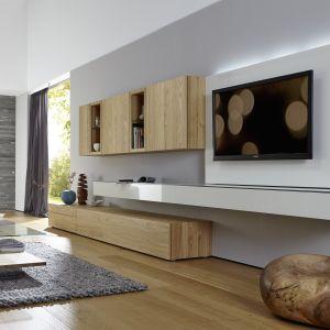 Meblościanka Neo to nowoczesny mebel do salonu wyposażony w panel do zamontowania telewizora. Fot. Huelsta