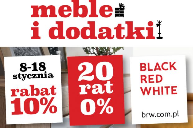 Black Red White rozpoczyna nowy rok specjalną promocją dla swoich klientów. Do 18 styczniaw salonach stacjonarnych i sklepie internetowym www.brw.com.pl klienci mogą skorzystać z10% rabatu na szeroką ofertę mebli i dodatków do całego mieszkan