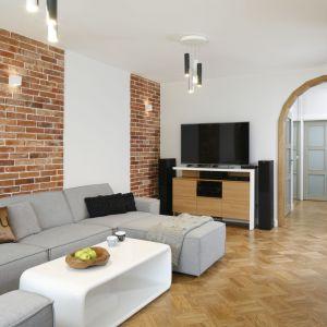 Szara sofa w salonie o klimacie loftowym. Projekt Agata Piltz. Fot. Bartosz Jarosz