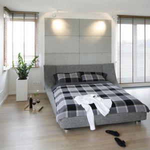 Szare tapicerowane łóżko w minimalistycznej sypialni. Projekt: Agnieszka Ludwinowska. Fot. Bartosz Jarosz
