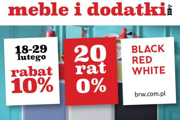 Black Red White daje kolejną okazję do bardzo atrakcyjnych zakupów. Do końca lutego meble i dodatki można nabyć 10% taniej. Co więcej, kupujący mają możliwość rozłożenia płatności na 20 wygodnych rat 0%. Obie promocje można ze sobą łąc
