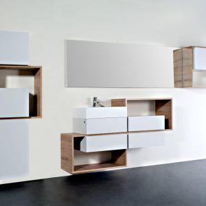 Meble łazienkowe Intro. Zestaw został zaprojektowany dla osób, które pragną nadać oryginalny i niepowtarzalny charakter wnętrzu swojej łazienki. Fot. Defra