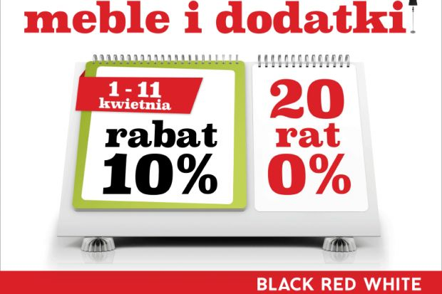 W salonach Black Red White już wystartowały kwietniowe promocje. Najnowsza oferta pozwala zaoszczędzić 10% na zakupie mebli i dodatków. Co więcej, rabaty można łączyć z wygodnymi ratami 0%. To podwójnie korzystna okazja dla wszystkich, którzy
