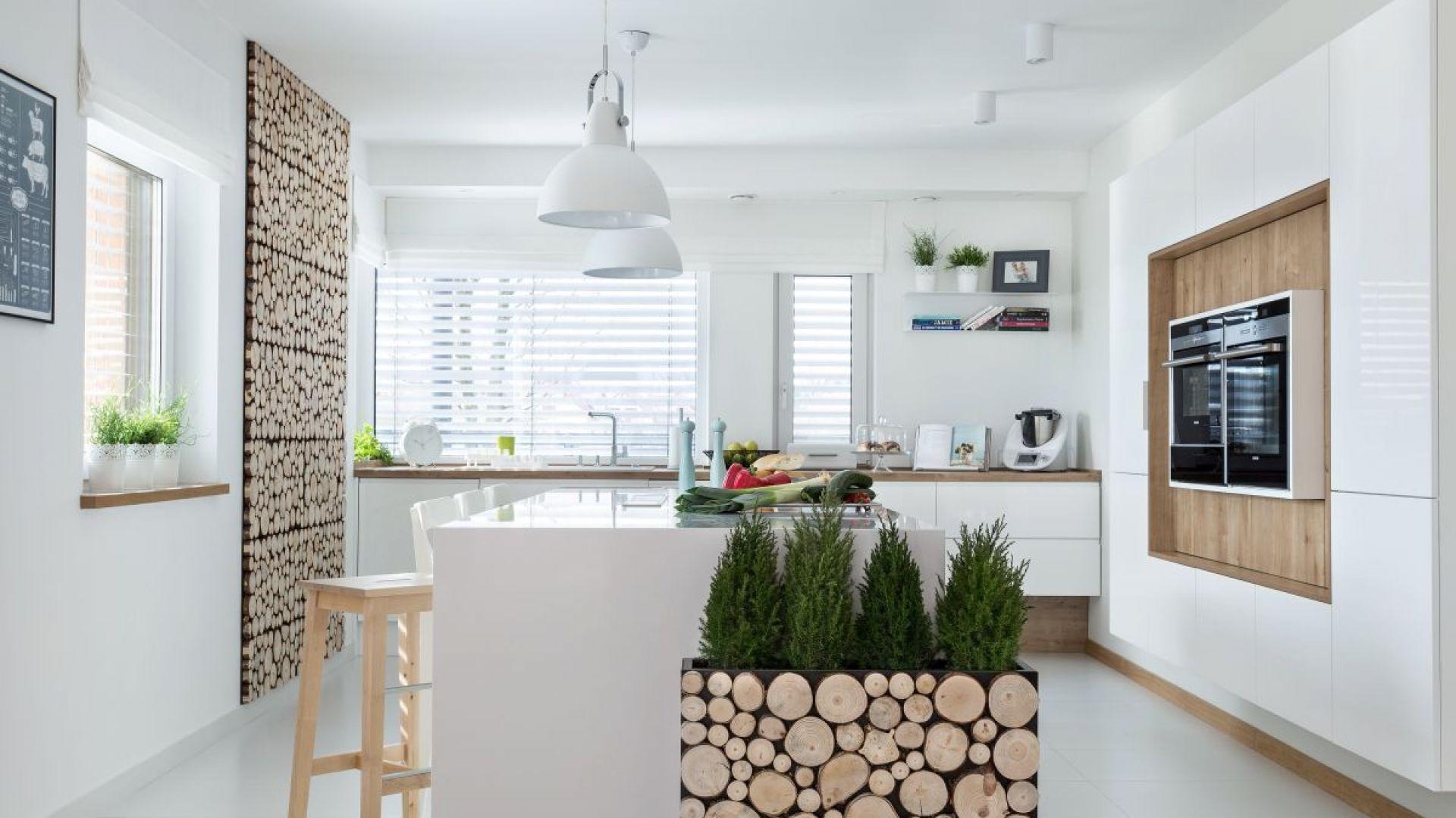 W kuchni Kruppe przeważa biel, jednak drewno jest znaczącym elementem. Nadaje wnętrzu delikatny ton i je ociepla. Fot. Vigo Meble