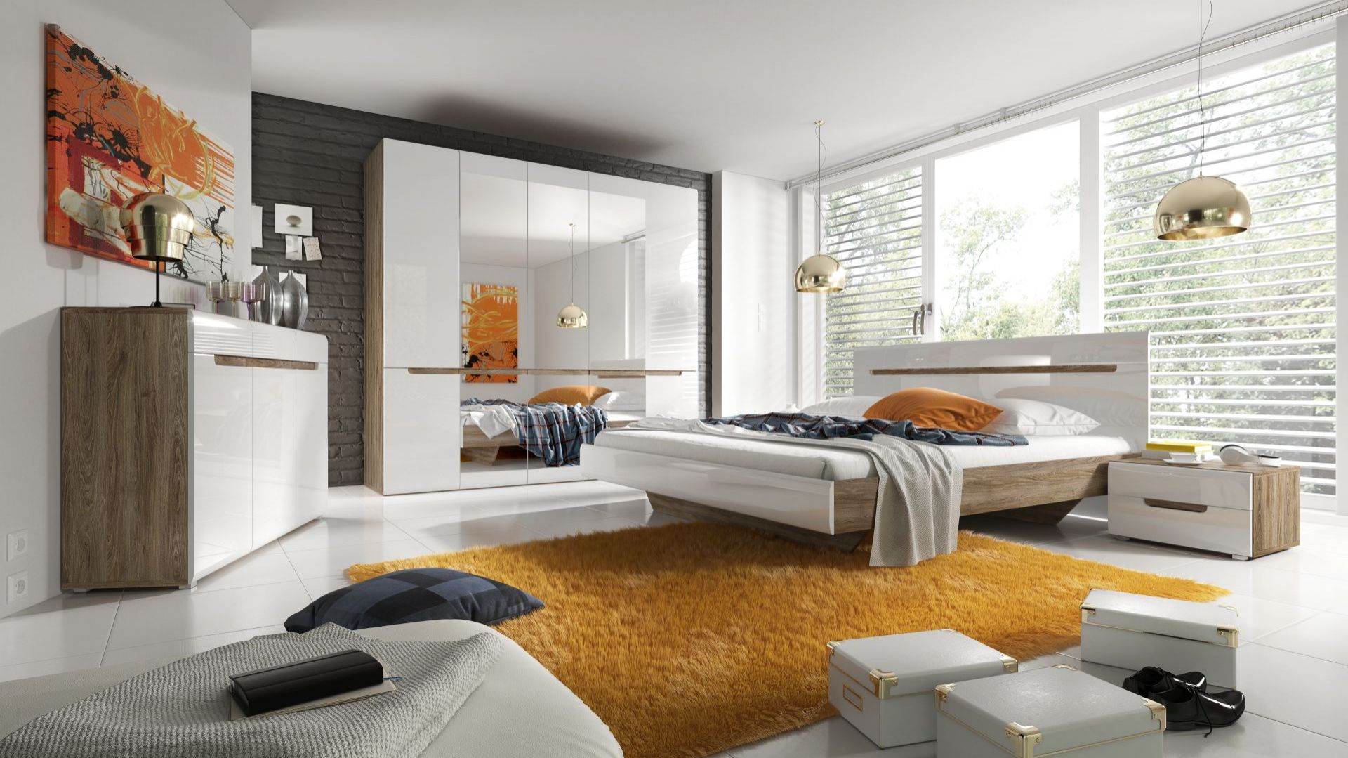 Sypialnia Hektor utrzymana jest w ciepłym połączeniu ciemnego dębu i beżu w połysku. Duże tafle luster zastosowane w szafach optycznie powiększają wnętrze natomiast ciepła kolorystyka nadaje mu przytulności. Fot. Helvetia Wieruszów