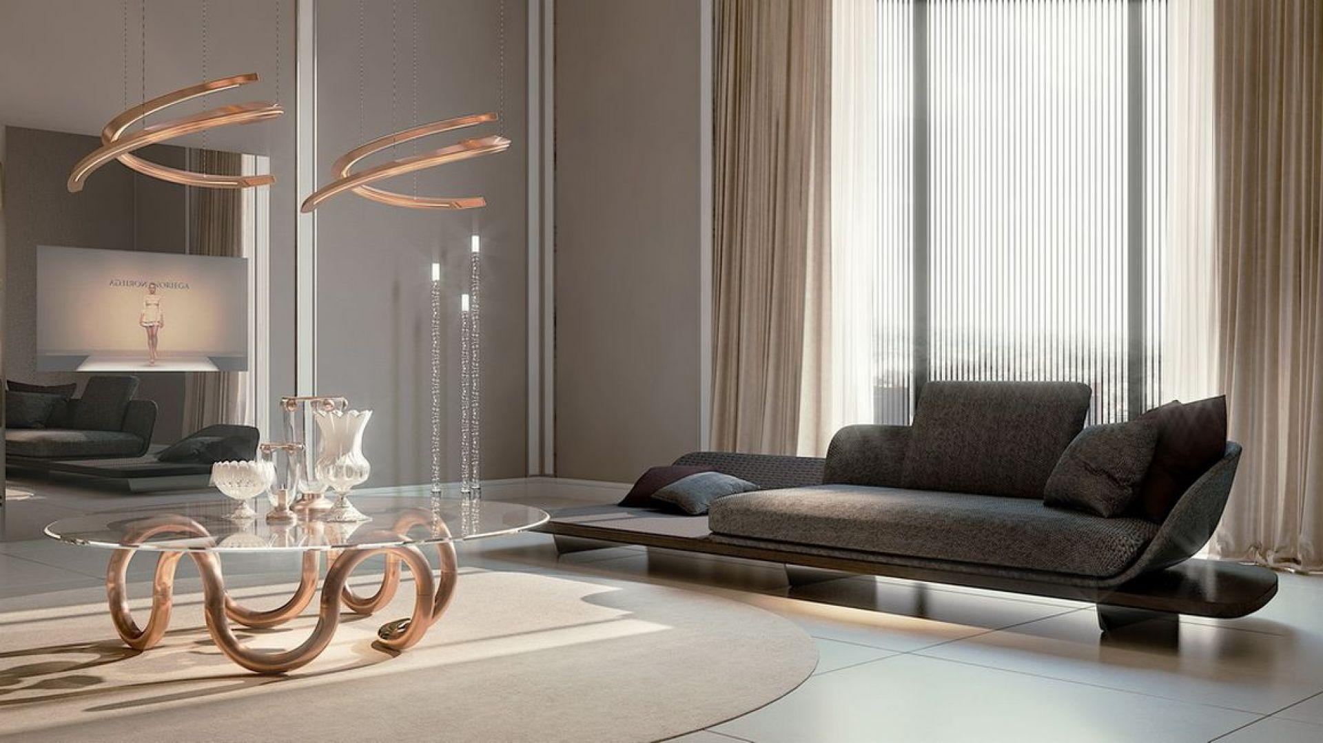 Sofa, stół oraz lampa z najnowszej kolekcji Pininfarina Segno marki Reflex. Fot. Galeria Mebli Heban