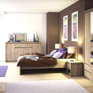 Sypialnia Norton ma stylowe rysunki drewna i ciepłą, przygaszoną kolorostykę. Fot. Salony Agata