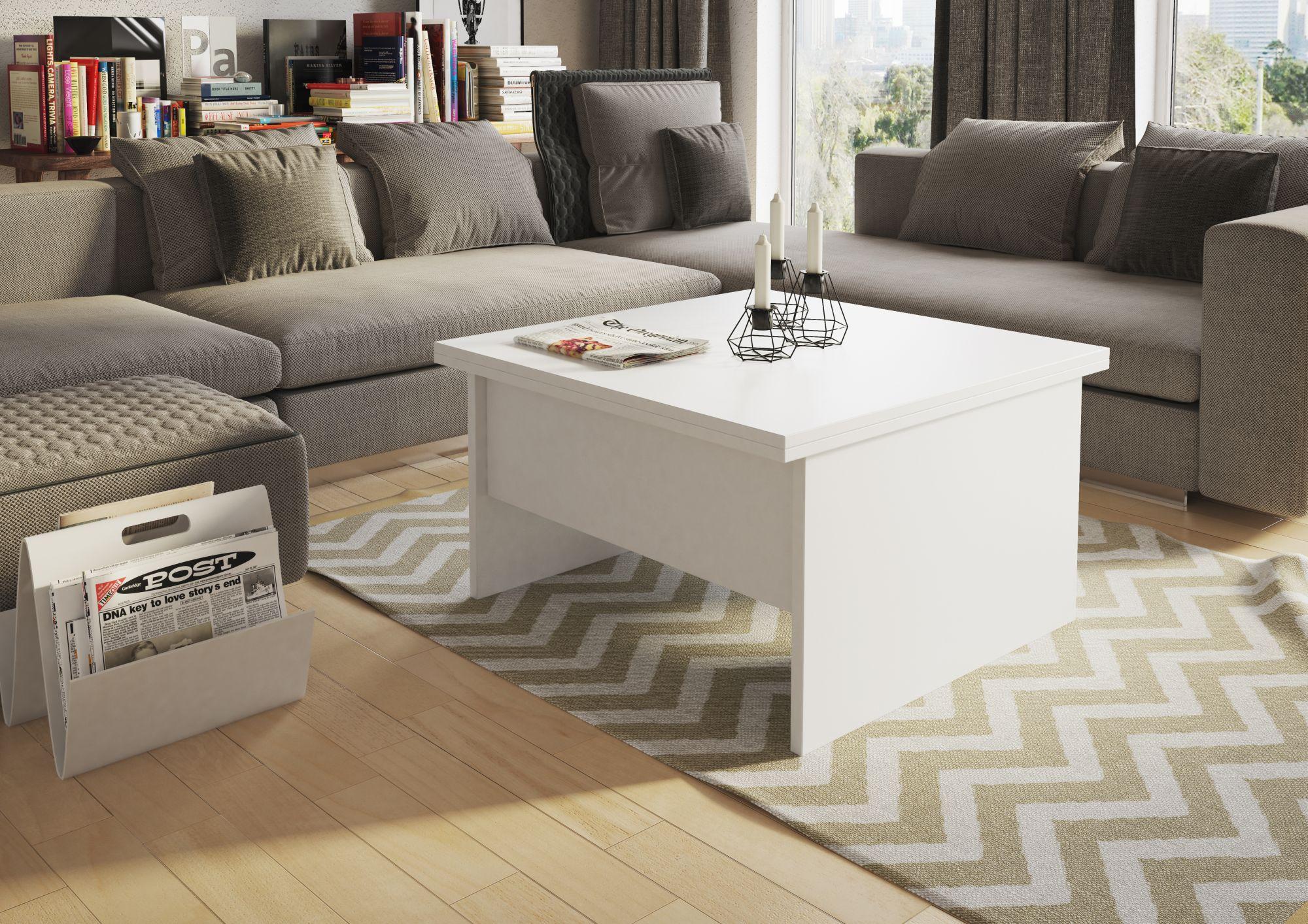 Stolik okolicznościowy Space. Rozkładany, o prostej, geometrycznej formie. Po rozłożeniu może pełnić rolę stołu. Fot. Szynaka Meble
