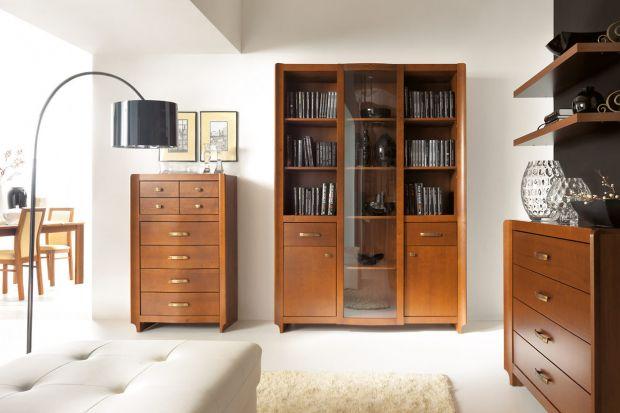 Klasyczne meble do salonu w ciepłym odcieniu drewna.