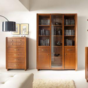 Witryny i komody z kolekcji Alevil. W kolekcji wykorzystano naturalne materiały - fornirowane fronty oraz oryginalne drewniane listwy. Fot. BRW