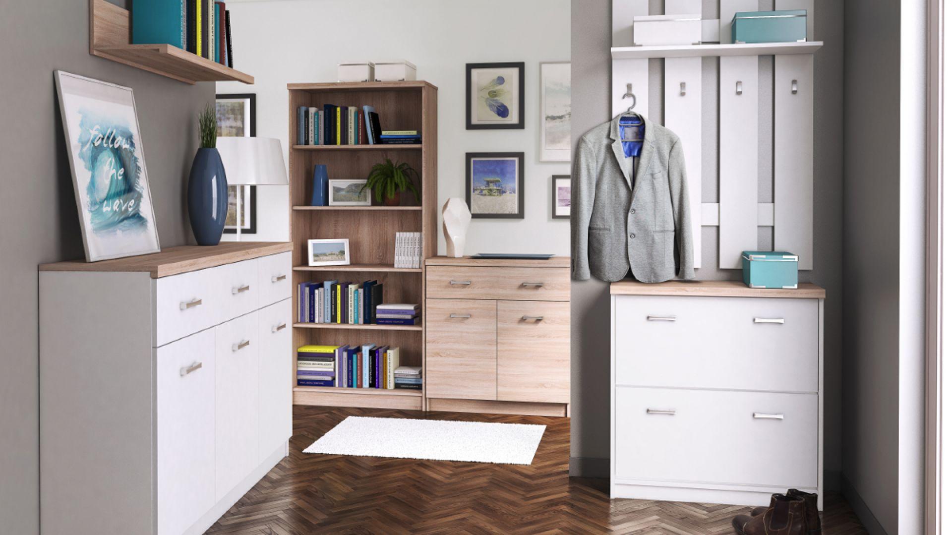 Kolekcja do przedpokoju Top Mix to białe meble ocieplone wstawkami drewna. Fot. Salony Agata