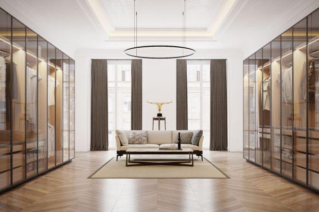 Garderoba Brerra została wyposażona we wszystkie przydatne akcesoria i subtelnie podświetlona.