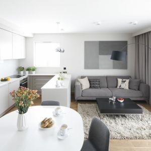 Wielofunkcyjne wnętrze z małą sofą. Projekt: Katarzyna Uszok-Adamczyk. Fot. Bartosz Jarosz