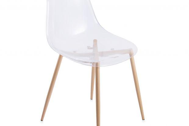 Transparentne krzesło do jadalni lub salonu.