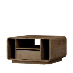Stolik Acerro o charakterystycznym zaokrąglonym kształcie i specyficznym dekorze, który spowoduje, że twój pokój dzienny będzie wyróżniał się na tle innych. Fot. Salony Agata