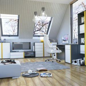 Seria Graphic, dzięki wstawkom w żółtym kolorze doda energii i ożywi każdy salon. Kolekcja jest modułowa, a ilość dostępnych brył pozwala wygodnie dopasować meble do potrzeb wnętrza. Fot. BRW
