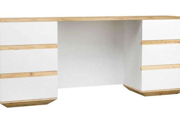 Biurko Zebra wykończone jest okleiną w kolorze orzecha.