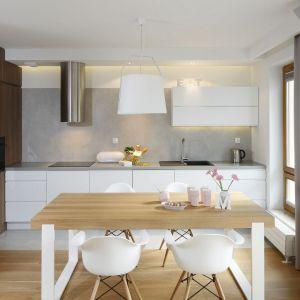 Aneks kuchenny tworzy tło dla strefy dziennej. Warto urządzić oba pomieszczenia w jednej stylistyce. Projekt: Przemysław Kuśmierek. Fot. Bartosz Jarosz