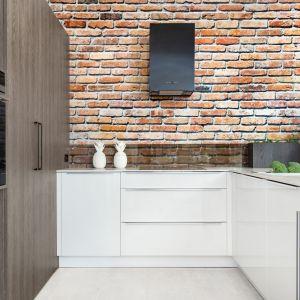 Cegła na ścianie doskonale wpisuje się w industrialny styl. Fot. Studio Max Kuchnie / BOSSI