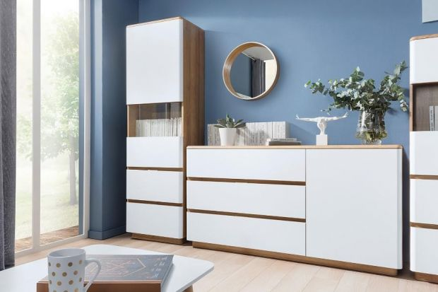 Białe eleganckie meble doskonale sprawdzą się w nowoczesnym pokoju dziennym. Kolekcja Braga to sposób na współczesny salon, który doskonale łączy modną biel z ciepłem barwy drewna.
