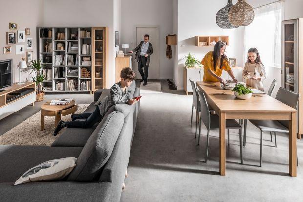 Salon połączony z jadalnią to częsta praktyka zarówno w domach, jak i mieszkaniach. Jeśli decydujemy się na takie rozwiązanie, warto wybrać meble z jednej kolekcji.