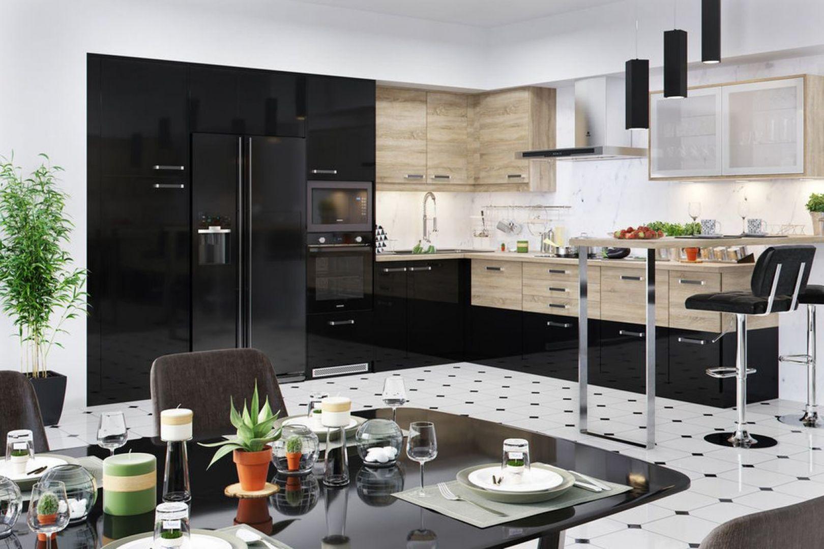 Nowoczesna kuchnia z elementami stylu glamour. Fot. Salony Agata