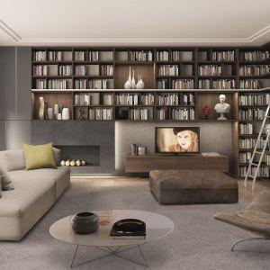Taki mebel zmieści duży księgozbiór i oczywiście telewizor. Fot. Zalf