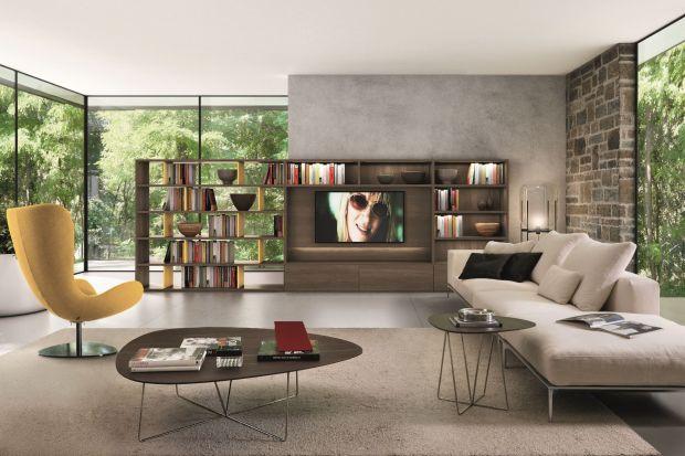 Telewizor może tworzyć ciekawą kompozycję z półkami pełnymi książek i ciekawych bibelotów, np. pamiątek z podróży. Ważne jest jednak, by harmonijnie i pomysłowo zaaranżować taki układ - nieoceniona będzie tu nowoczesna meblościanka.