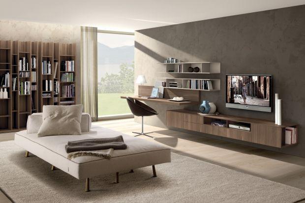 Meble, które można powiesić na ścianie, stwarzają wiele możliwości aranżacyjnych. Wnoszą do salonu wrażenie lekkości i przestronności, są też praktyczne - ułatwiają utrzymanie porządku.