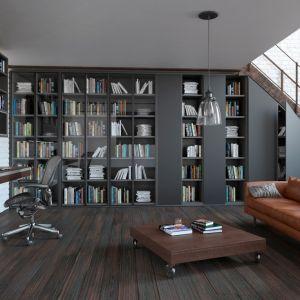 Biblioteka zajmująca częściowo przestrzeń pod schodami. Fot. Komandor