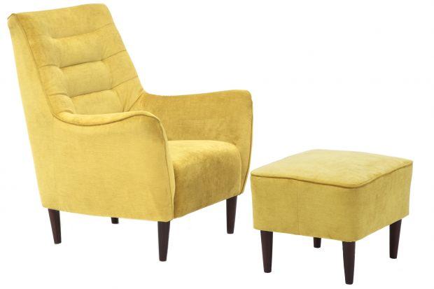 Wygodny i modny fotel w podnóżkiem.