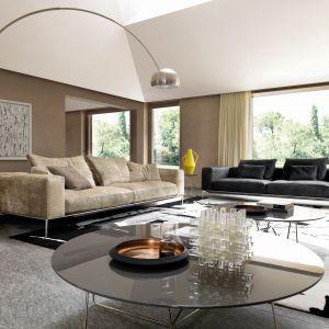 Dwie kanapy, ogromna stojąca lampa, stoliki kawowe o dużych powierzchniach. Fot. Desiree