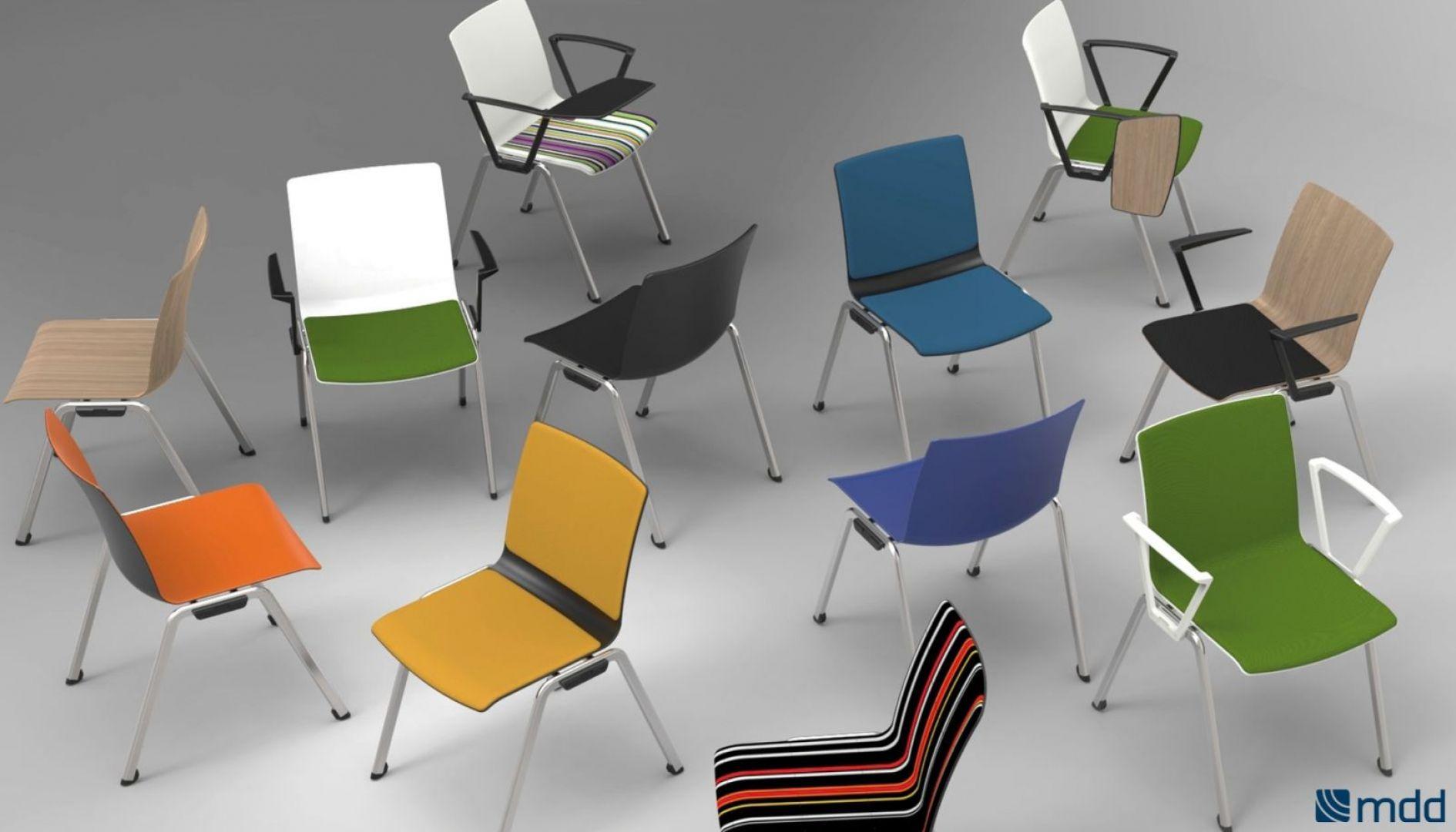 Kolorowe krzesła Shila pasują do mieszkania i do biura, Fot. MDD
