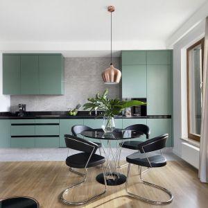 Kuchnia na jedną ścianę sprawdzi się w niewielkim wnętrzu. Realizacja: studioLOKO/Interdoor