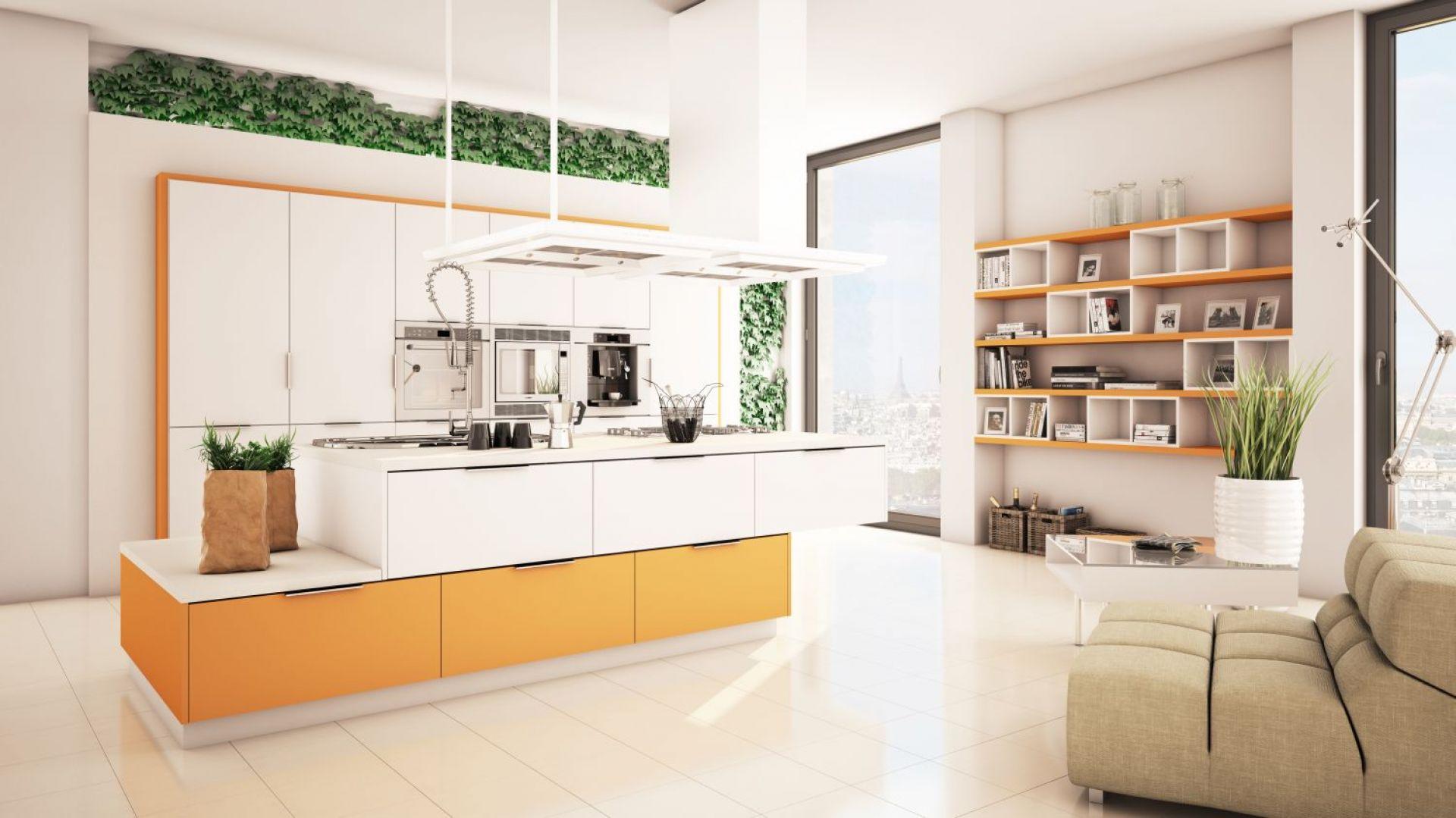Żółty z białym tworzą radosne wnętrze pełne lekkości. Fot. Moelke