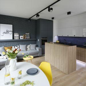 Niewielkie mieszkanie z aneksem kuchennym, oddzielonym barem. Projekt Ola Kołodziej i Urszula Szmyt. Fot. Bartosz Jarosz