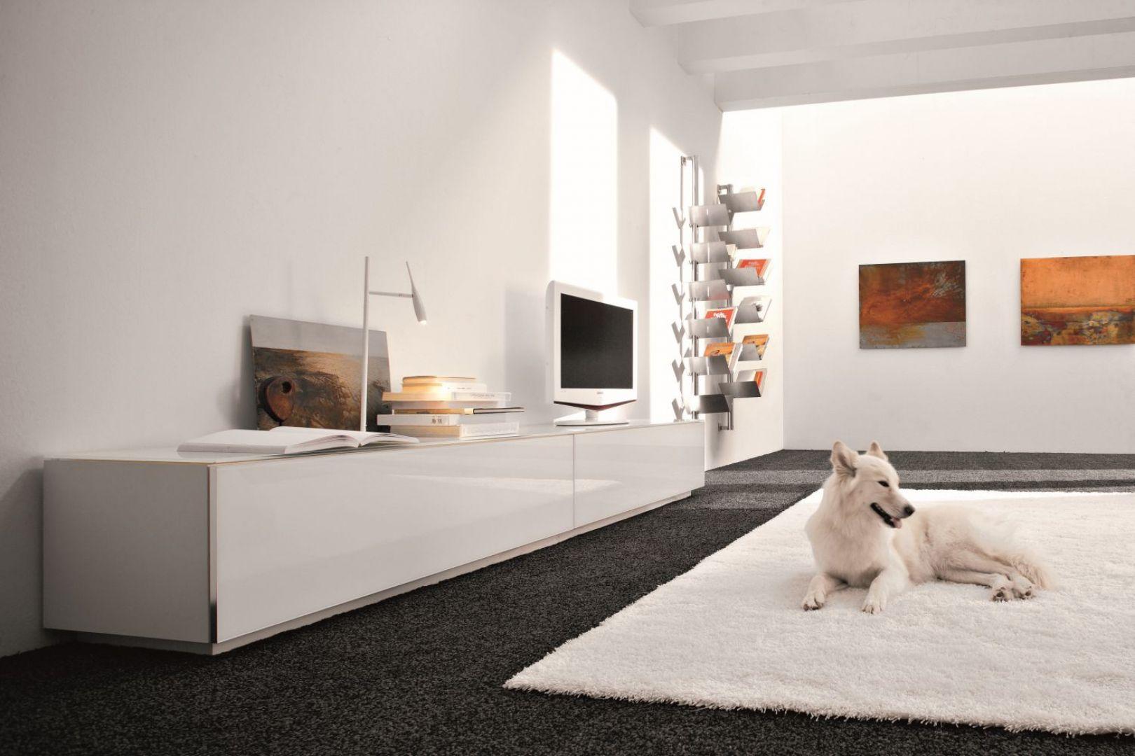 W minimalistycznym wnętrzu dobrze sprawdzają się białe fronty na wysoki połysk. Fot. Cattelan Italia