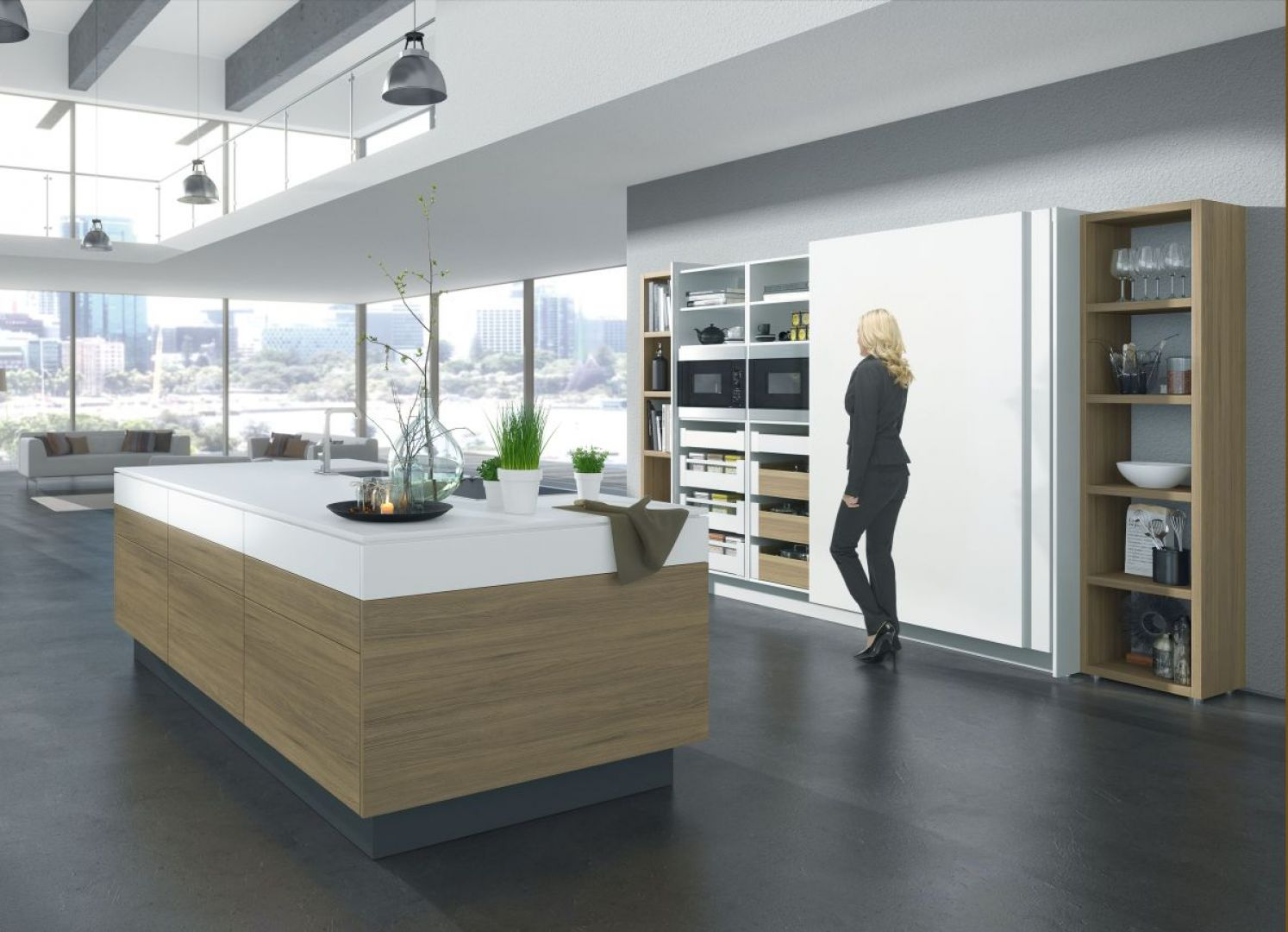 Dzięki nowoczesnym okuciom nowoczesna kuchnia jest komfortowa w użytkowaniu. Fot. Hettich