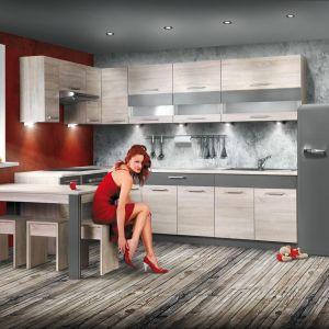 Niekiedy szary kolor w kuchni wprowadzany jest w postaci akcentów, takich jak np. nogi od stołu. Fot. Kam