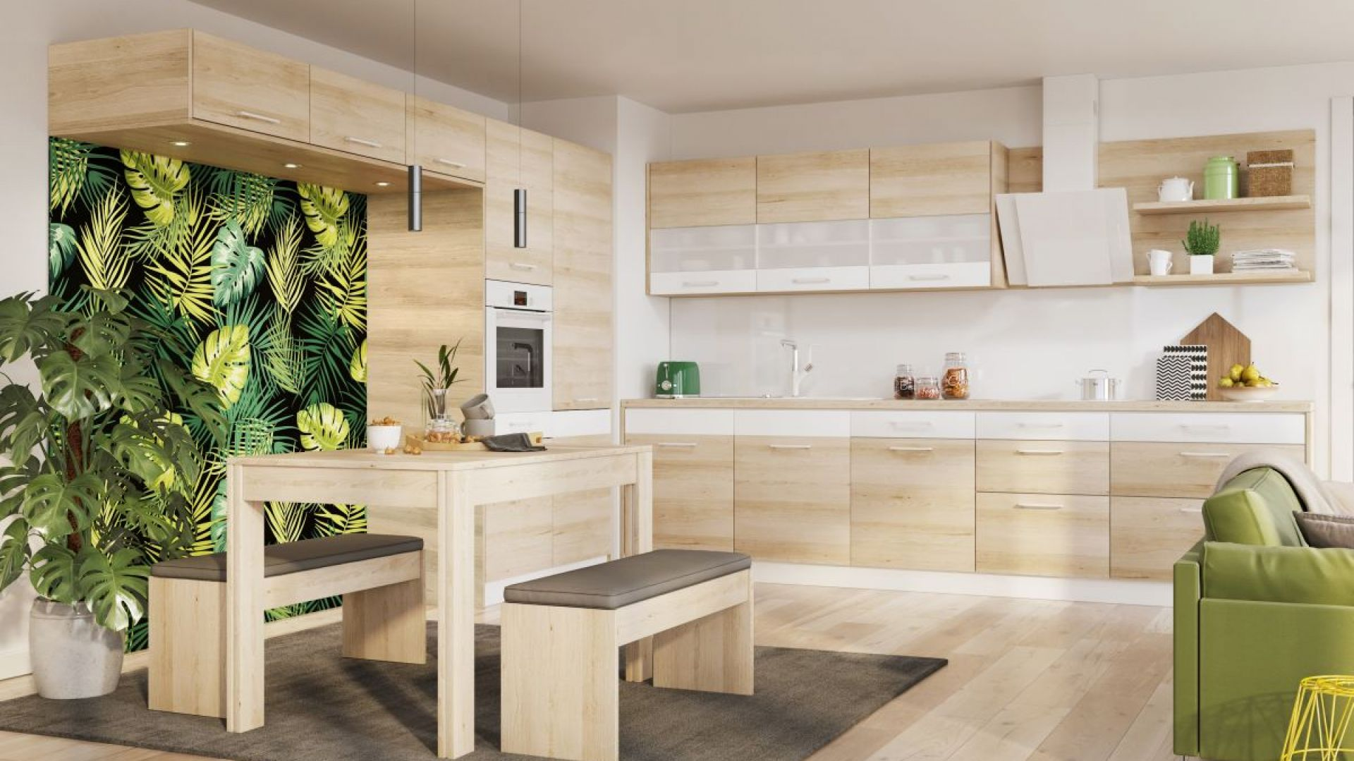 Stół na granicy kuchni i salonu stanowi subtelne nawiązanie do klasycznych jadalni. Fot. Kam