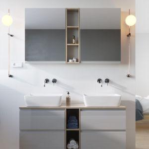 """Kolekcja """"Moduo"""" umożliwia stworzenie minimalistycznych kompozycji meblowych, które z łatwoscią pomieszczą kosmetyki i łazienkowe akcesoria. Fot. Cersanit"""