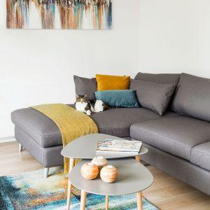 Przy sofie nie mogło zabraknąć stolików kawowych również w szarym kolorze. Projekt: Kinga Świątek-Wolna. Fot,. Make Home