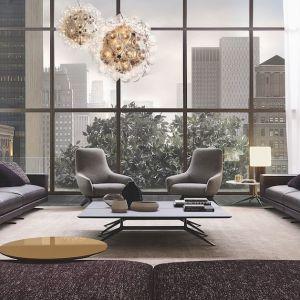 Przestronny salon, dodatkowo optycznie powiększony przez duże okna. Fot. Poliform/Studio Forma 96