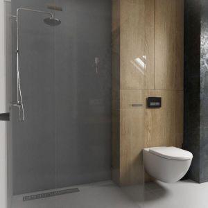 Łazienka jest na tyle duża, że oprócz wanny zmieściła się w niej spora kabina prysznicowa ze zrobionymi na wymiar ściankami z bezpiecznego szkła. Nie ma w niej brodzika – woda spływa bezpośrednio do odpływu liniowego, zainstalowanego w podłodze. Projekt: Małgorzata Górska-Niwińska (Pracownia Architektoniczna MGN).