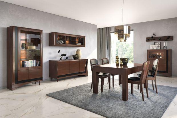 """Zestaw mebli do jadalni z kolekcji """"Korso"""" zwraca uwagę jakością wykonania i pozwala na funkcjonalne zagospodarowanie wnętrza, a także wpisuje się w najnowsze trendy aranżacyjne."""