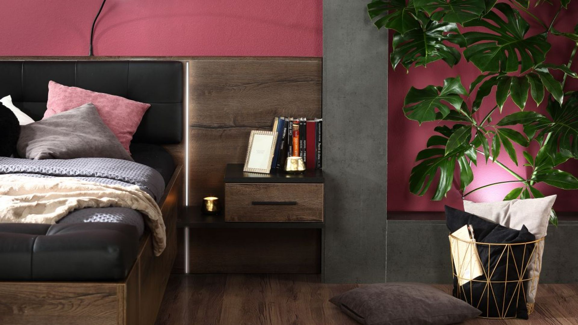 Szafka nocna zintegrowana z łóżkiem – kolekcja
