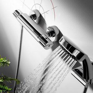 Temperatura wody z natrysku regulowana przez baterię termostatyczną Flat Tres będzie zawsze  stała (np. komfortowe 38°C), co ułatwi oszczędzanie wody ciepłej. Fot. Tres